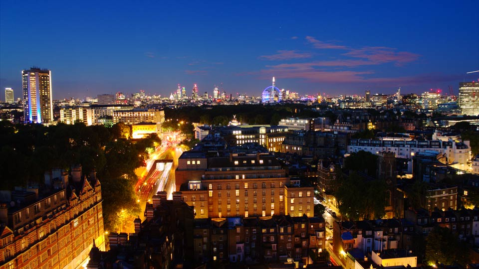 Early evening over London from the comfort of The Park Tower, Knightsbridge